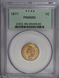 Proof Indian Cents: , 1871 1C PR65 Red PCGS. A conditionally scarce survivor from an original proof delivery of at least 960 pieces, this coin is...