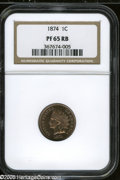 Proof Indian Cents: , 1874 1C PR65 Red and Brown NGC. Crisply struck with luscious salmon, plum, and deep purple toning, and problem-free proof s...