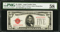 Fr. 1528* $5 1928C Mule Legal Tender Note. PMG Choice About Uncirculated 58
