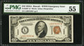 Small Size:World War II Emergency Notes, Fr. 2303* $10 1934A Hawaii Federal Reserve Note. PMG AboutUncirculated 55.. ...