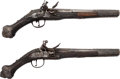 Handguns:Muzzle loading, Pair of Ornate Flintlock Pistols for the Middle Eastern Market.. ... (Total: 2 Items)