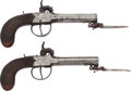Handguns:Muzzle loading, Pair of English Percussion Pistols with Folding Bayonets.... (Total: 2 Items)