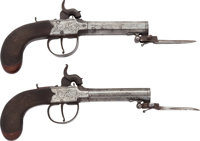 Pair of English Percussion Pistols with Folding Bayonets