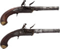 Handguns:Muzzle loading, A Pair of English Turn-Off Pistols by Blyth.... (Total: 2 Items)
