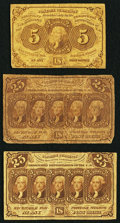 Fractional Currency:First Issue, First Issue Fractionals Very Good or Better.. Fr. 1230 5¢;. Fr.1281 25¢ (2).. ... (Total: 3 notes)