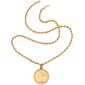 Estate Jewelry:Pendants and Lockets, Gold Coin, Gold, Yellow Metal, Pendant-Necklace . ...