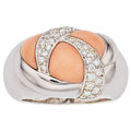 Estate Jewelry:Rings, Coral, Diamond, White Gold Ring, French. ...