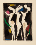 Fine Art - Work on Paper:Print, Marino Marini (1901-1980). Personnages du Sacre du Printemps, 1970-74. Lithograph in colors on paper. 12 x 9-1/2 inches ...