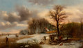 Fine Art - Painting, European:Antique  (Pre 1900), Alexis de Leeuw (Belgian, 1828-1898). Winter Landscape withSkaters on a Frozen River and Woodcutters Working on theRiver...
