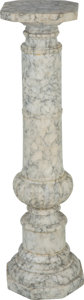Furniture : Continental, A Continental Beaux Arts Carved Marble Pedestal. 44-1/4 inches high(112.4 cm). ...
