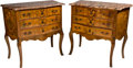 Furniture : French, A Pair of Louis XV-Style Marquetry Commodes with Breche d'AlepMarble Tops, 19th century. 31-1/2 h x 32 w x 16-3/4 ...