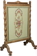 Furniture : French, A Beaux Arts Giltwood and Needlepoint-Upholstered Fire Screen, late19th century. 44-1/2 h x 28-3/4 w x 18-1/8 d inches (113...