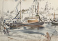 Fine Art - Work on Paper, Theresa Bernstein (American, 1890-2002). Docks atGloucester. Watercolor on paper. 15 x 21 inches (38.1 x 53.3cm) (sigh...