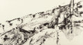 Fine Art - Work on Paper:Drawing, Suzanne Schweig Martyl (American, 1918-2013). ByzantineMonastery. Ink on paper. 19-1/2 x 35-3/4 inc...