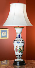 Decorative Arts, French:Lamps & Lighting, A Bohemian Painted and Cased Glass Vase Mounted as a Lamp,...