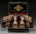 Decorative Arts, French:Other , A Napoleon III Ebonized Wood and Brass Inlaid Cave-a-Liqueur, thirdquarter 19th century. 10-3/8 h x 12-3/4 w x 9-1/4 d inch... (Total:16 Items)