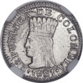 Colombia, Colombia: Cundinamarca. Republic 1/2 Real 1821 Ba-JF MS63+ NGC,...
