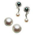 Estate Jewelry:Earrings, Diamond, Cultured Pearl, Mabe Pearl, Gold Earrings. ... (Total: 2 Items)