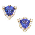 Estate Jewelry:Earrings, Tanzanite, Diamond, Gold Earrings . ...