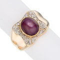 Estate Jewelry:Rings, Star Ruby, Diamond, Gold Ring The ring feature...