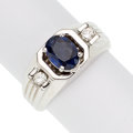 Estate Jewelry:Rings, Sapphire, Diamond, White Gold Ring  The ring f...