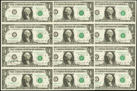 Buchanan Courtesy Autograph Fr. 1911-F $1 1981 Federal Reserve Notes. Uncut Sheets of Four. Choice About Uncirculated or...