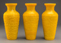 Asian:Chinese, Three Chinese Yellow Peking Glass Vases. 10-1/2 inches high (26.7cm) (each). ... (Total: 3 Items)
