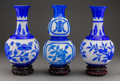 Asian:Chinese, Three Chinese Blue and White Peking Glass Vases on Hardwood Stands,20th century. 11-1/4 inches high (28.6 cm) (each, exclud... (Total:3 Items)