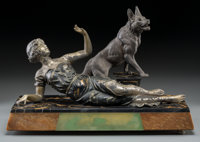 An Art Deco Marble, Onyx, and Patinated Spelter Group of a Reclining Woman and German Shepherd, circa 1930 11-1/2