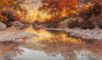 Grant Macdonald (American, b. 1944) Morning at Lost Maples, 1984 Oil on Masonite 36 x 60 inches (