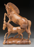 Decorative Arts, Continental:Other , A Carved Wood Equestrian Group of a Mare and Foal. Marks:(indistinct signature). 23-1/2 h x 16 w x 8-1/2 d inches (59.7 x4...