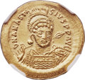 Ancients:Byzantine, Ancients: Anastasius I (AD 491-518). AV solidus (21mm, 4.48 gm,6h). NGC Gem MS 5/5 - 5/5....