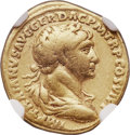 Ancients:Roman Imperial, Ancients: Trajan (AD 98-117), with Divus Nerva and Divus TrajanPater. AV aureus (18mm, 7.03 gm, 7h). NGC Choice Fine 5/5 - 4/5....