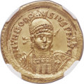 Ancients:Roman Imperial, Ancients: Theodosius II, Eastern Roman Emperor (AD 402-450). AVsolidus (21mm, 4.49 gm, 6h). NGC MS 5/5 - 5/5....