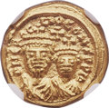 Ancients:Byzantine, Ancients: Heraclius (AD 610-641), with Heraclius Constantine. AV solidus (12mm, 4.48 gm, 6h). NGC Gem MS 5/5 - 5/5....