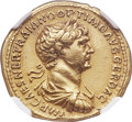 Ancients:Roman Imperial, Ancients: Trajan (AD 98-117). AV aureus (20mm, 7.33 gm, 6h). NGC Choice XF 5/5 - 2/5, bent, ex-jewelry. ...