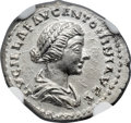 Ancients:Roman Imperial, Ancients: Lucilla, wife of Lucius Verus (Augusta, AD 164-182). AR denarius (3.38 gm). NGC Choice MS 5/5 - 5/5....