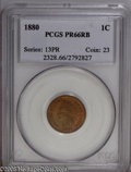 Proof Indian Cents: , 1880 1C PR66 Red and Brown PCGS. Olive, ruby-red, and orange colors interchange across the fields and devices. A razor-shar...