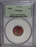 Proof Indian Cents: , 1886 1C Type One PR66 Red and Brown PCGS. Toning enthusiasts will covet this intricately struck specimen, which delivers ex...