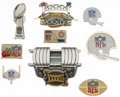 Football Collectibles:Others, Football Press Pins Lot of 9 - Including 1986 Super Bowl XX Pin....