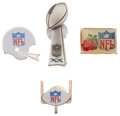 Football Collectibles:Others, Football Press Pins Lot of 4 - Including 1986 Super Bowl XX Pin....