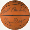 Basketball Collectibles:Balls, 1968-69 Los Angeles Lakers Team Signed Mini Basketball (11 Signatures) - Includes Wilt Chamberlain....
