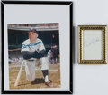 Baseball Collectibles:Photos, Mickey Mantle Signed Photograph & Derek Jeter Signed Napkin....