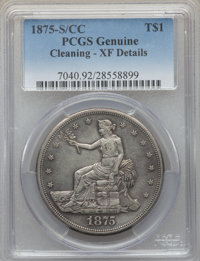 1875-S/CC T$1 -- Cleaning -- PCGS Genuine. XF Details. From The E.B. Strickland Collection. ...(PCGS# 7040)