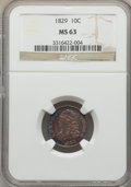 Bust Dimes, 1829 10C Small 10C, JR-7, R.1, MS63 NGC. NGC Census: (1/1). PCGSPopulation: (0/1). MS63. Mintage 770,000. . From The E...