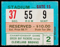 Football Collectibles:Tickets, 1965 NFL Championship Game Ticket Stub Packers vs. Browns - Jim Brown Last Game. ...