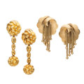 Estate Jewelry:Earrings, Gold Earrings. ... (Total: 2 Items)