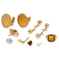 Estate Jewelry:Lots, Gentleman's Coin, Citrine, Cultured Pearl, Enamel, Gold Jewelry . ... (Total: 8 Items)