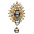 Estate Jewelry:Pendants and Lockets, Diamond, Cultured Pearl, Gold Pedant. ...
