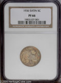 Proof Buffalo Nickels: , 1936 5C Type One--Satin Finish PR66 NGC. A melange of orange,lavender, and gold bathe luminous proof surfaces that are dev...
